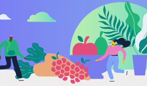 Illustration of people running by fruit bowl