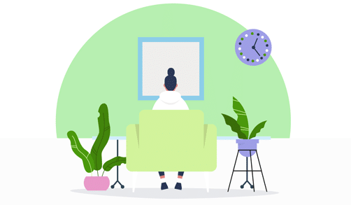 Person working from home with plants and a clock