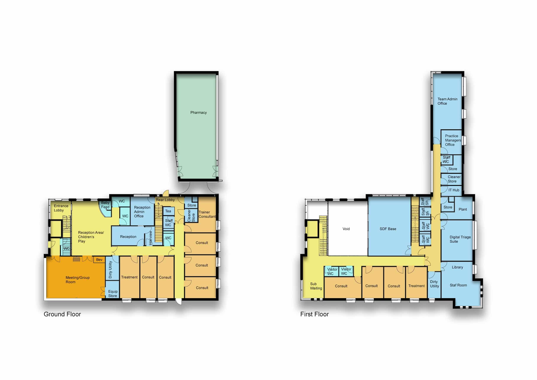 Aspull Health and Wellbeing Village floor plan labelled